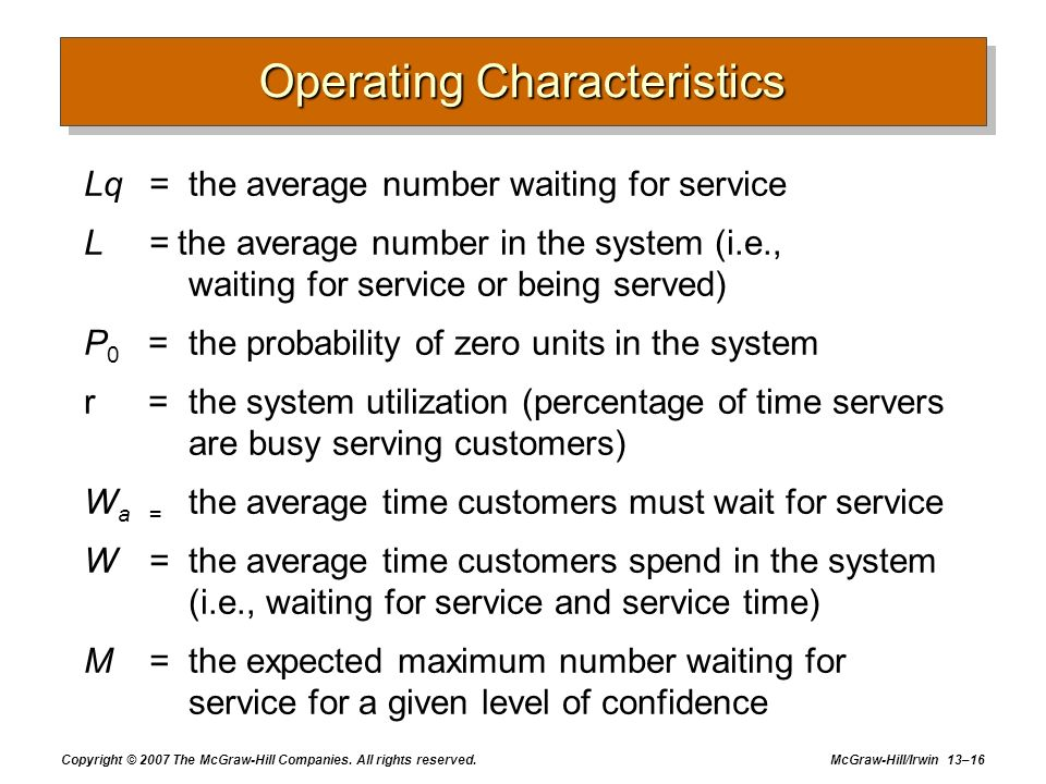 Copyright © 2007 The McGraw-Hill Companies. All rights reserved. McGraw-Hill/Irwin 13–16 Operating Characteristics Lq=the average number waiting for s
