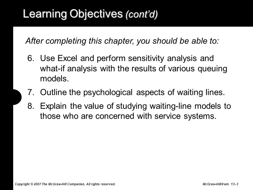 Copyright © 2007 The McGraw-Hill Companies. All rights reserved. McGraw-Hill/Irwin 13–3 Learning Objectives (contd) 6.Use Excel and perform sensitivit