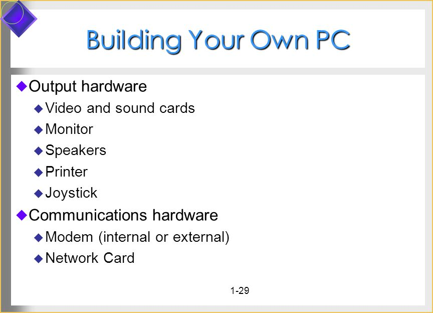 1-29 Building Your Own PC Output hardware Video and sound cards Monitor Speakers Printer Joystick Communications hardware Modem (internal or external)