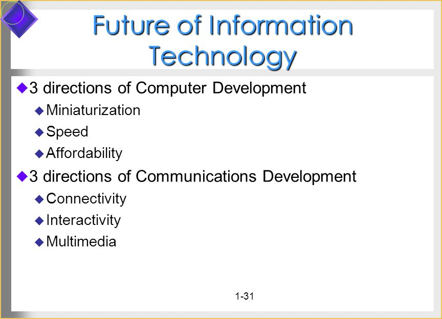 1-31 Future of Information Technology 3 directions of Computer Development Miniaturization Speed Affordability 3 directions of Communications Developm