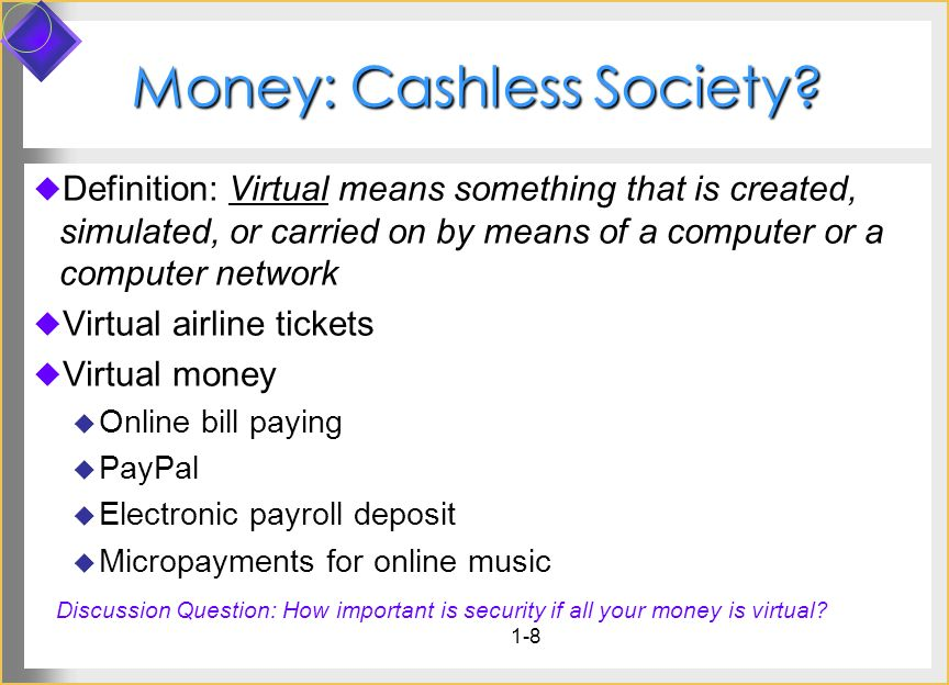 1-8 Money: Cashless Society? Definition: Virtual means something that is created, simulated, or carried on by means of a computer or a computer networ