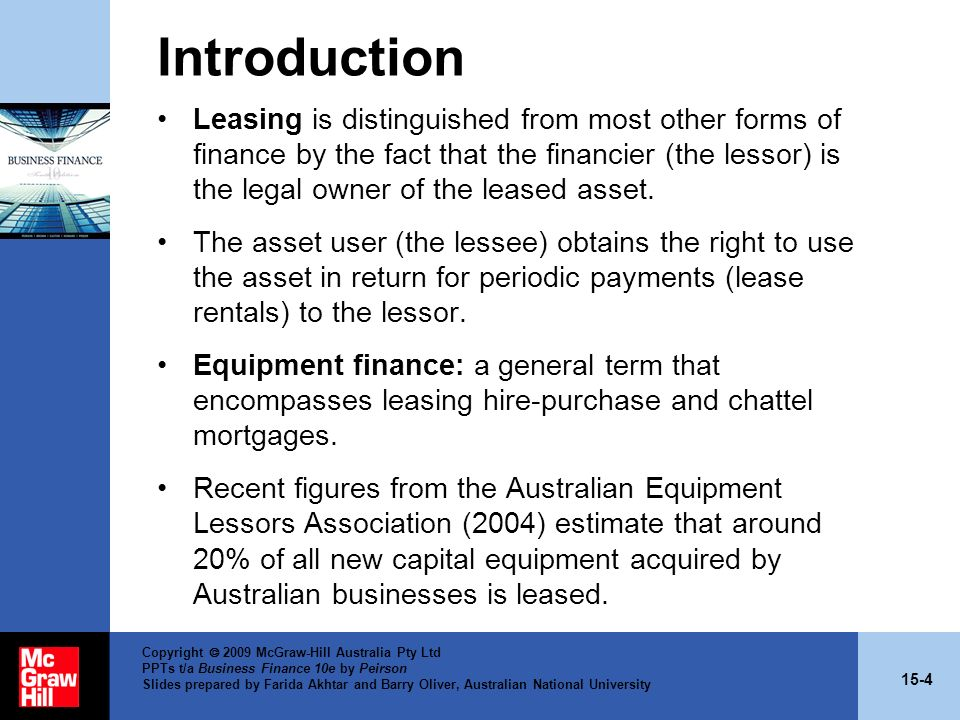 15-4 Copyright 2009 McGraw-Hill Australia Pty Ltd PPTs t/a Business Finance 10e by Peirson Slides prepared by Farida Akhtar and Barry Oliver, Australi