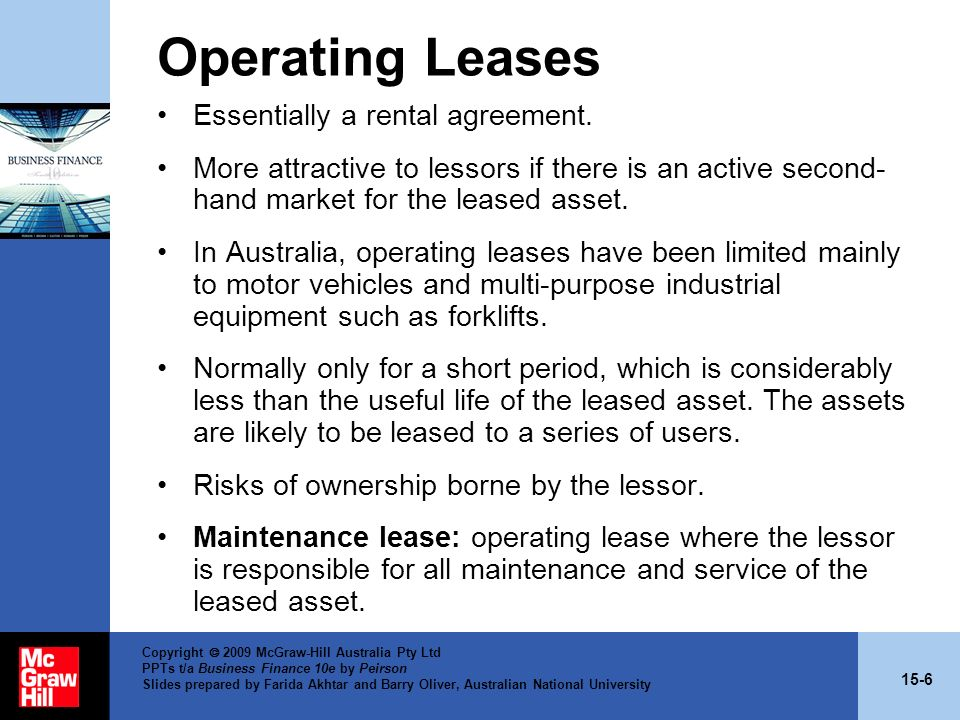 15-6 Copyright 2009 McGraw-Hill Australia Pty Ltd PPTs t/a Business Finance 10e by Peirson Slides prepared by Farida Akhtar and Barry Oliver, Australi