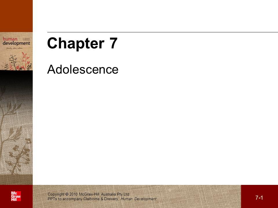 . 7-1 Copyright 2010 McGraw-Hill Australia Pty Ltd PPTs to accompany Claiborne & Drewery, Human Development Chapter 7 Adolescence