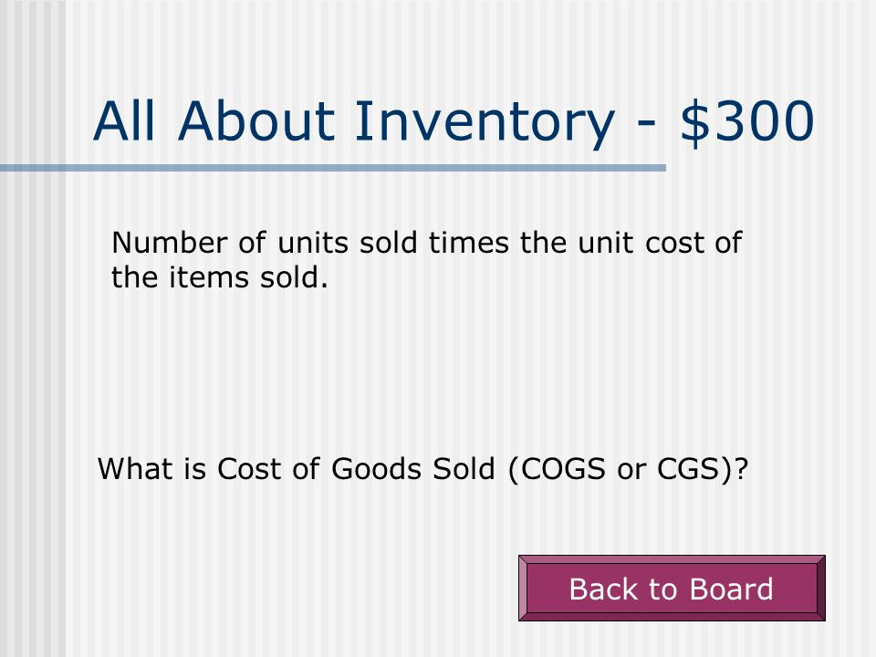All About Inventory - $200 Beginning inventory plus purchases for the period.