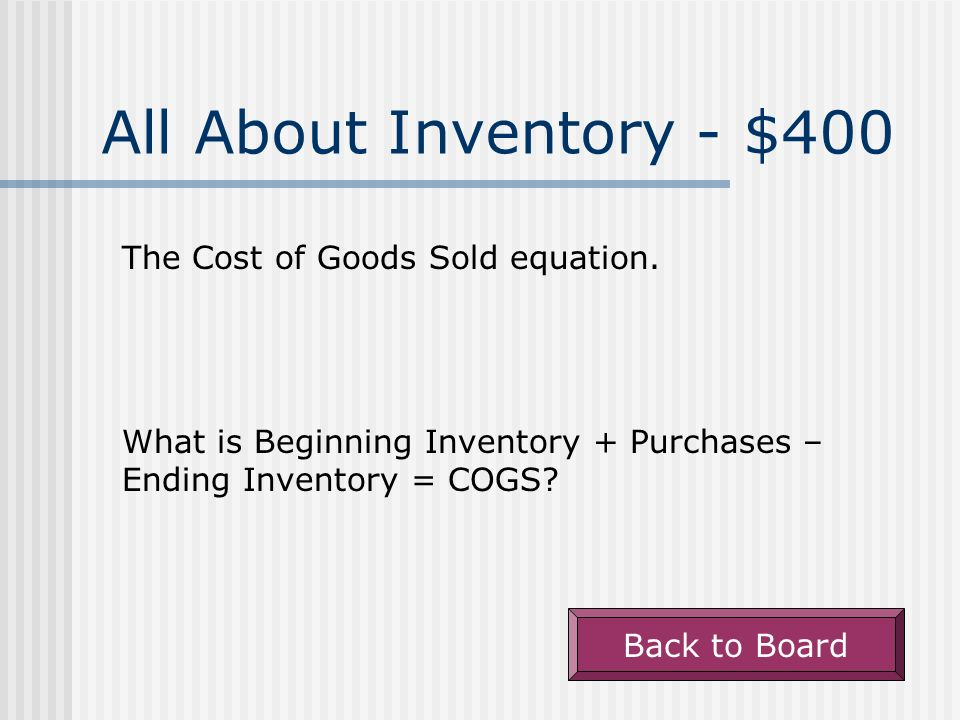 All About Inventory - $300 Number of units sold times the unit cost of the items sold. What is Cost of Goods Sold (COGS or CGS)? Back to Board