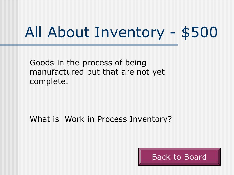 All About Inventory - $400 The Cost of Goods Sold equation.