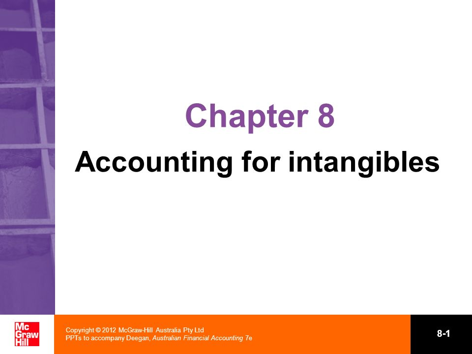 Copyright © 2012 McGraw-Hill Australia Pty Ltd PPTs to accompany Deegan, Australian Financial Accounting 7e 8-1 Chapter 8 Accounting for intangibles