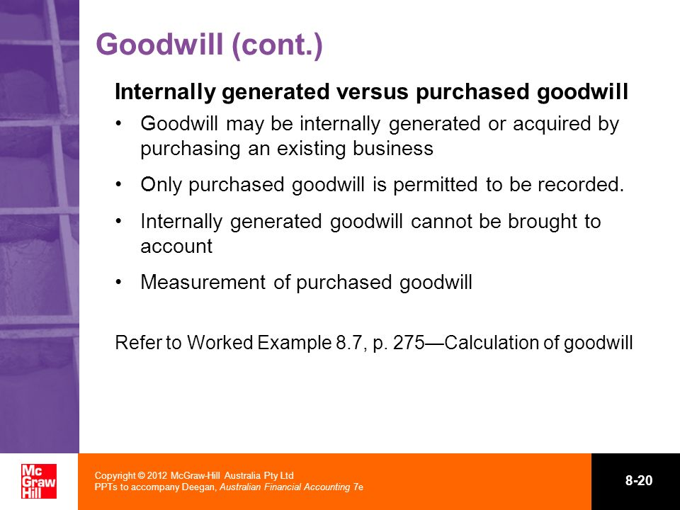 Copyright © 2012 McGraw-Hill Australia Pty Ltd PPTs to accompany Deegan, Australian Financial Accounting 7e 8-20 Goodwill (cont.) Internally generated
