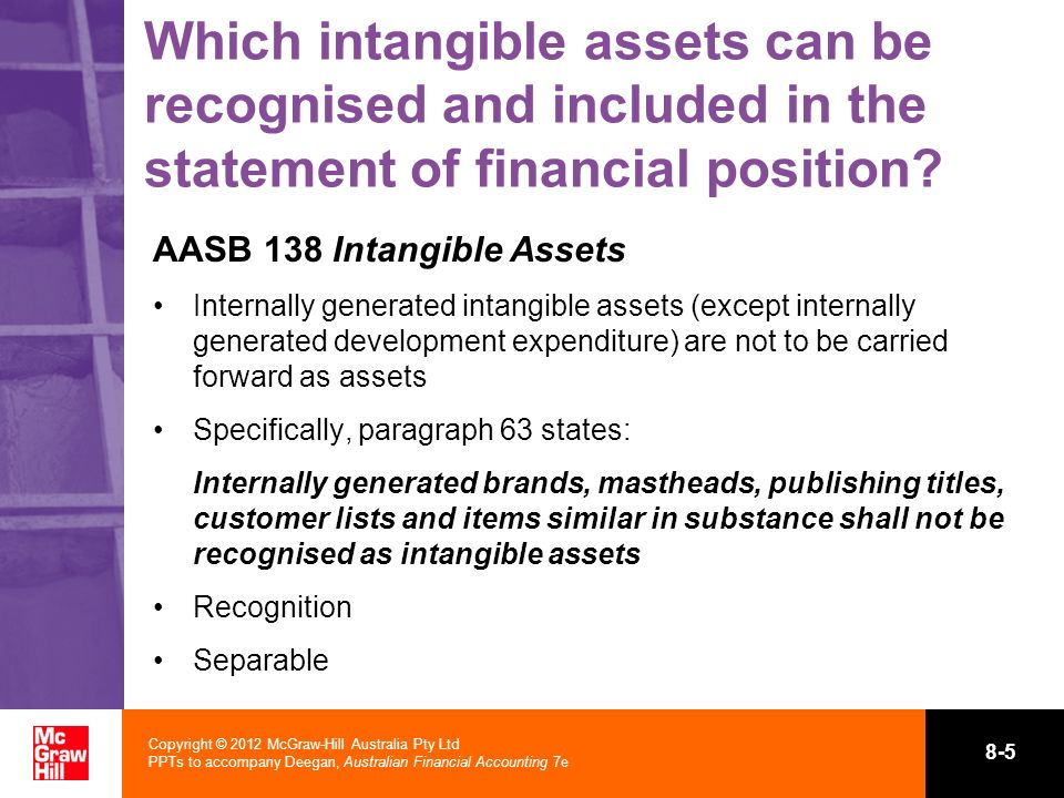 Copyright © 2012 McGraw-Hill Australia Pty Ltd PPTs to accompany Deegan, Australian Financial Accounting 7e 8-5 Which intangible assets can be recogni
