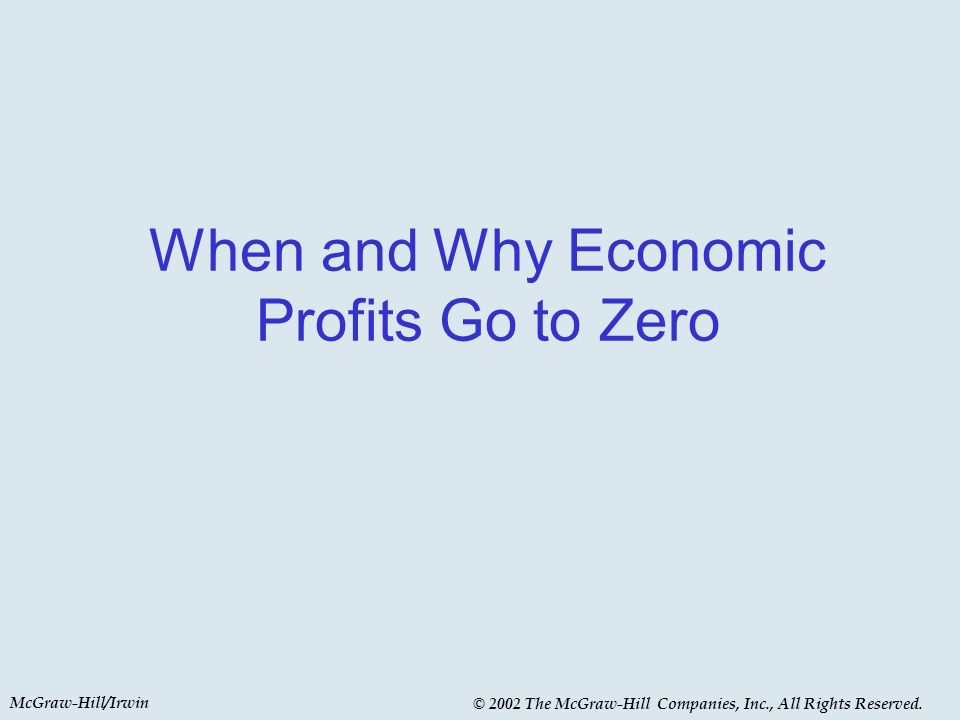 McGraw-Hill/Irwin © 2002 The McGraw-Hill Companies, Inc., All Rights Reserved. When and Why Economic Profits Go to Zero
