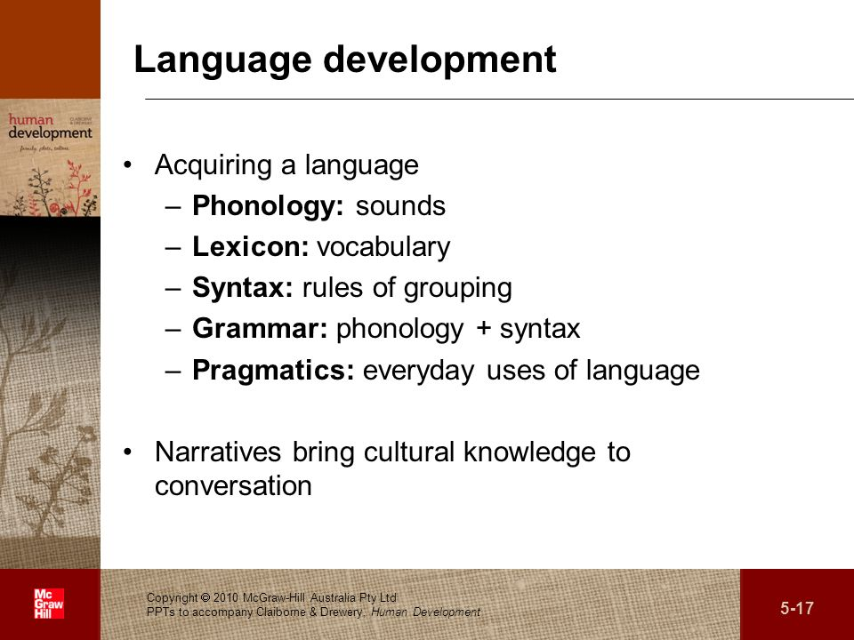 . Language development Acquiring a language –Phonology: sounds –Lexicon: vocabulary –Syntax: rules of grouping –Grammar: phonology + syntax –Pragmatics: everyday uses of language Narratives bring cultural knowledge to conversation Copyright 2010 McGraw-Hill Australia Pty Ltd PPTs to accompany Claiborne & Drewery, Human Development 5-17