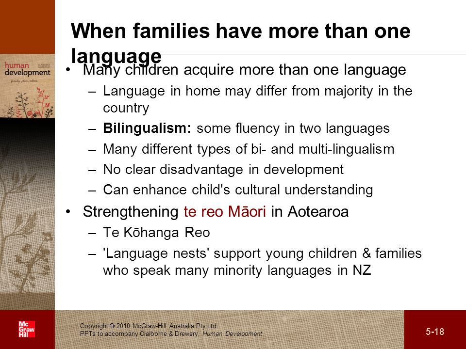 . When families have more than one language Many children acquire more than one language –Language in home may differ from majority in the country –Bi