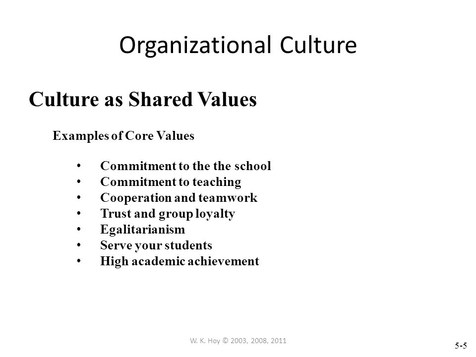 5-4 W. K. Hoy © 2003, 2008, 2011 Organizational Culture Culture as Norms Examples of Norms Never criticize colleagues in public Support your colleague