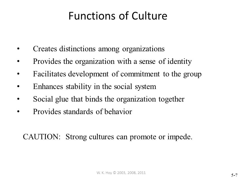 5-6 W. K. Hoy © 2003, 2008, 2011 Organizational Culture Culture as Tacit Assumptions Examples of Tacit Assumptions Truth ultimately comes from teacher