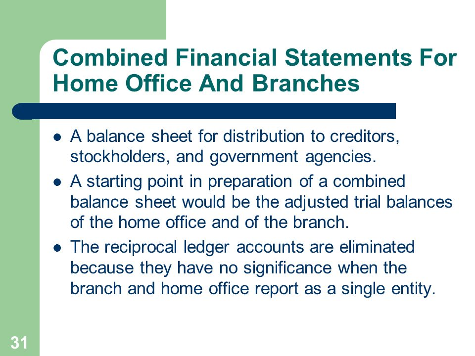 31 Combined Financial Statements For Home Office And Branches A balance sheet for distribution to creditors, stockholders, and government agencies. A
