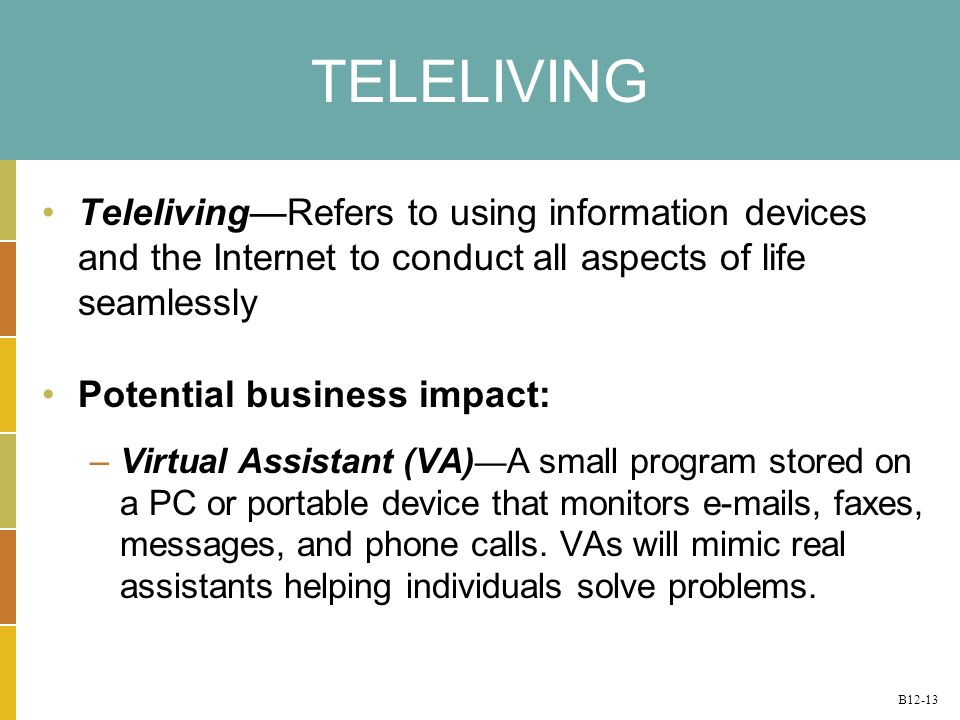 B12-13 TELELIVING TelelivingRefers to using information devices and the Internet to conduct all aspects of life seamlessly Potential business impact: –Virtual Assistant (VA) A small program stored on a PC or portable device that monitors e-mails, faxes, messages, and phone calls.
