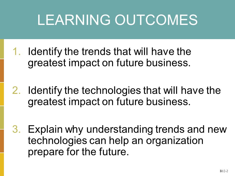 B12-2 LEARNING OUTCOMES 1.Identify the trends that will have the greatest impact on future business.