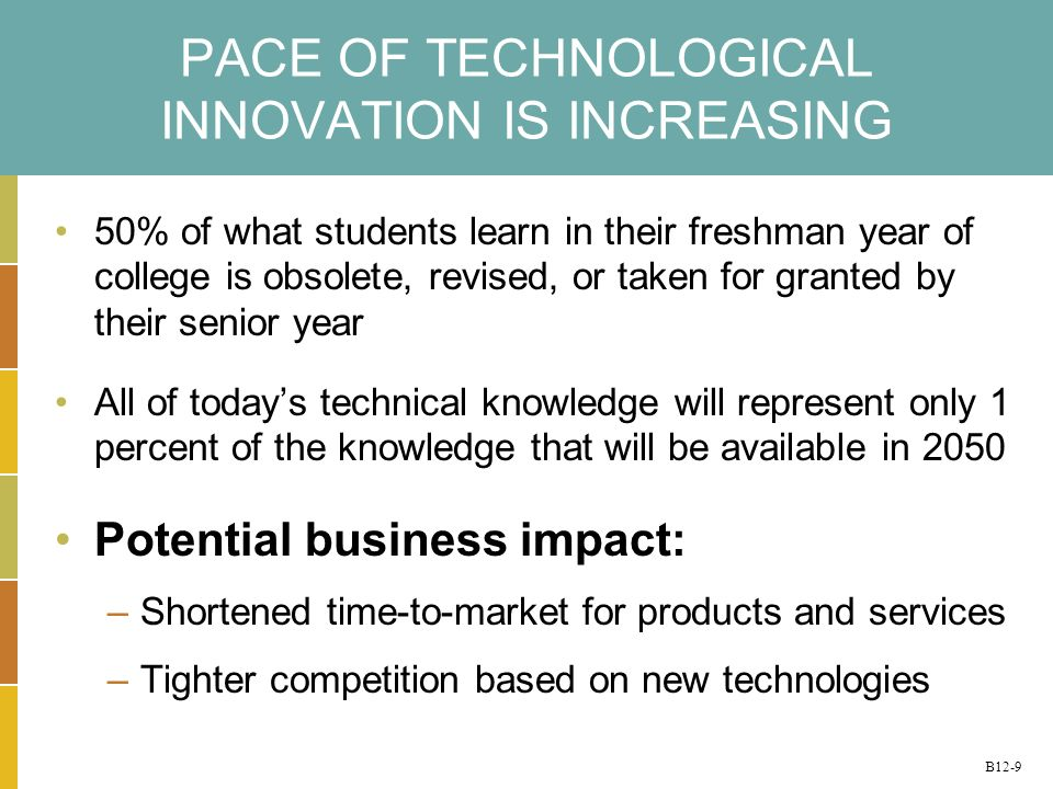 B12-9 PACE OF TECHNOLOGICAL INNOVATION IS INCREASING 50% of what students learn in their freshman year of college is obsolete, revised, or taken for granted by their senior year All of todays technical knowledge will represent only 1 percent of the knowledge that will be available in 2050 Potential business impact: –Shortened time-to-market for products and services –Tighter competition based on new technologies