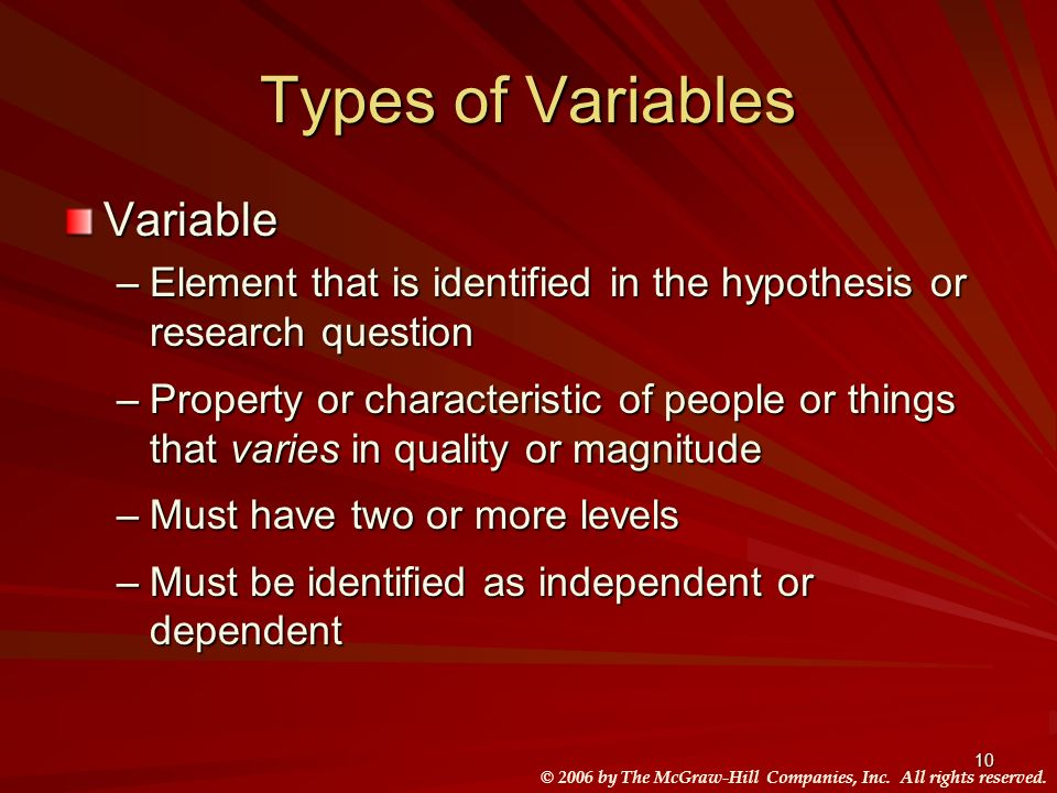 © 2006 by The McGraw-Hill Companies, Inc. All rights reserved. 10 Types of Variables Variable –Element that is identified in the hypothesis or researc