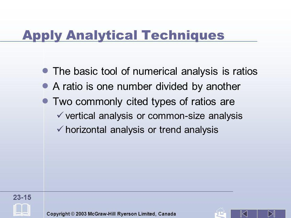 Copyright © 2003 McGraw-Hill Ryerson Limited, Canada 23-15 Apply Analytical Techniques The basic tool of numerical analysis is ratios A ratio is one n