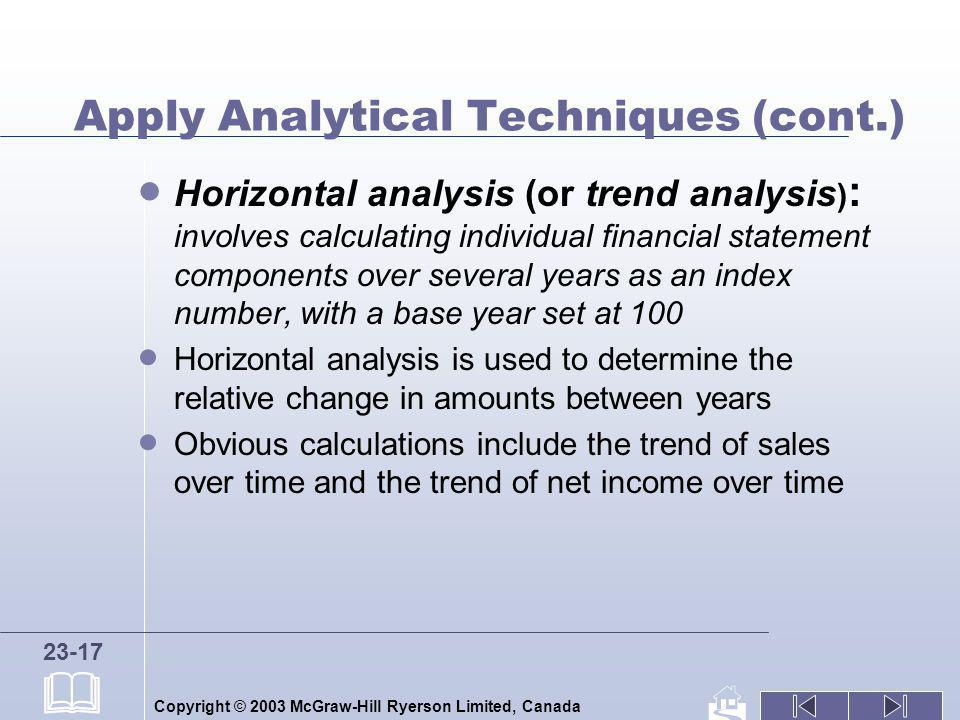 Copyright © 2003 McGraw-Hill Ryerson Limited, Canada 23-17 Apply Analytical Techniques (cont.) Horizontal analysis (or trend analysis ) : involves cal
