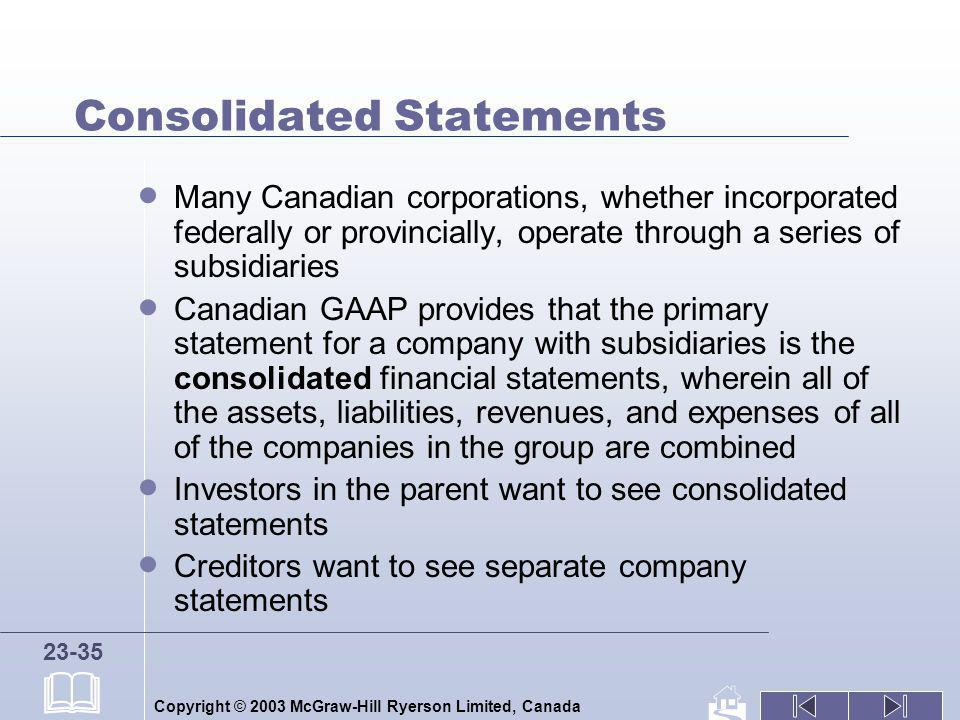 Copyright © 2003 McGraw-Hill Ryerson Limited, Canada 23-35 Consolidated Statements Many Canadian corporations, whether incorporated federally or provi