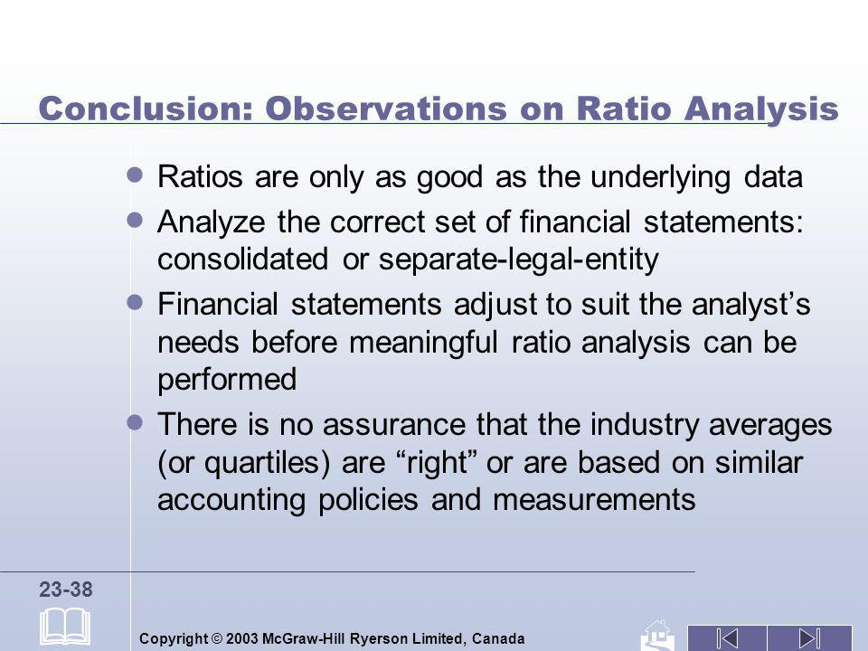 Copyright © 2003 McGraw-Hill Ryerson Limited, Canada 23-38 Conclusion: Observations on Ratio Analysis Ratios are only as good as the underlying data A