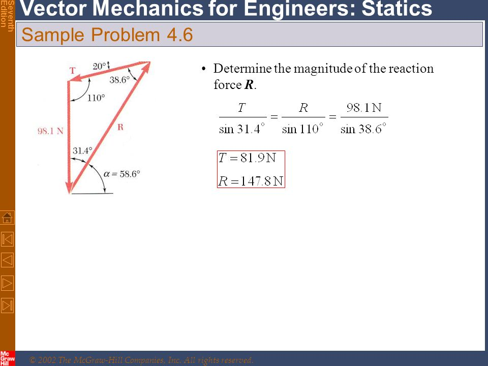 © 2002 The McGraw-Hill Companies, Inc. All rights reserved. Vector Mechanics for Engineers: Statics SeventhEdition Sample Problem 4.6 Determine the ma