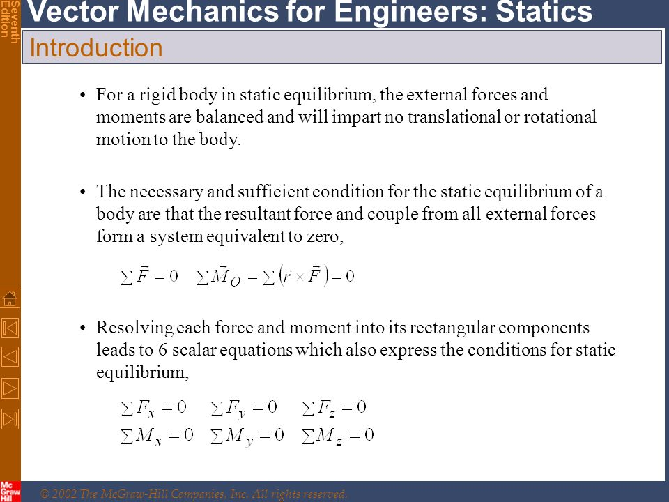 © 2002 The McGraw-Hill Companies, Inc. All rights reserved. Vector Mechanics for Engineers: Statics SeventhEdition Introduction The necessary and suff