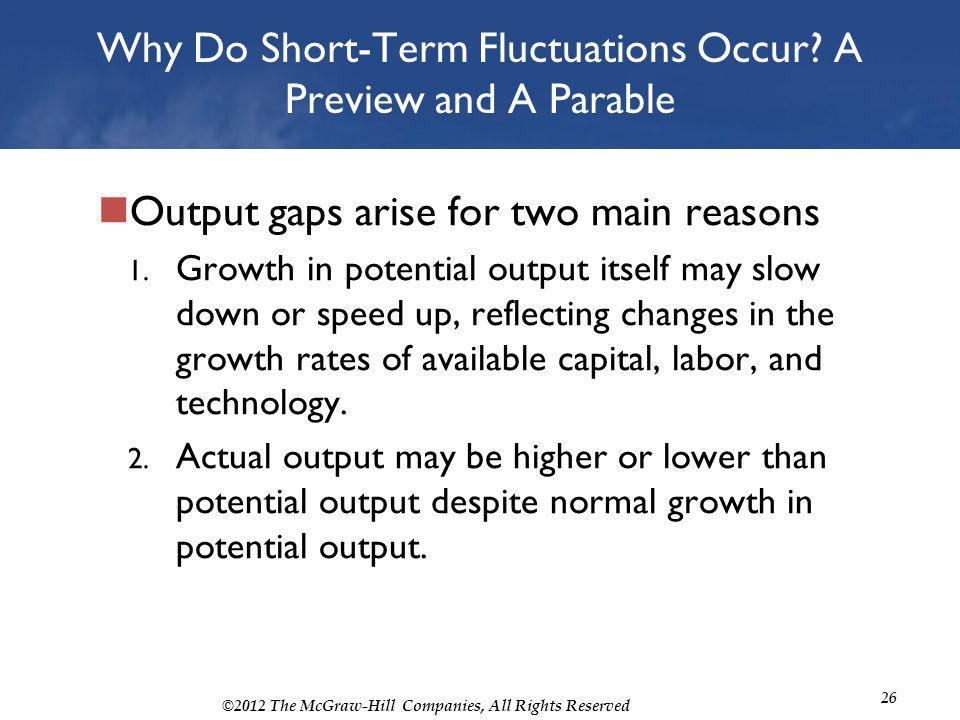 ©2012 The McGraw-Hill Companies, All Rights Reserved 26 Why Do Short-Term Fluctuations Occur? A Preview and A Parable Output gaps arise for two main r