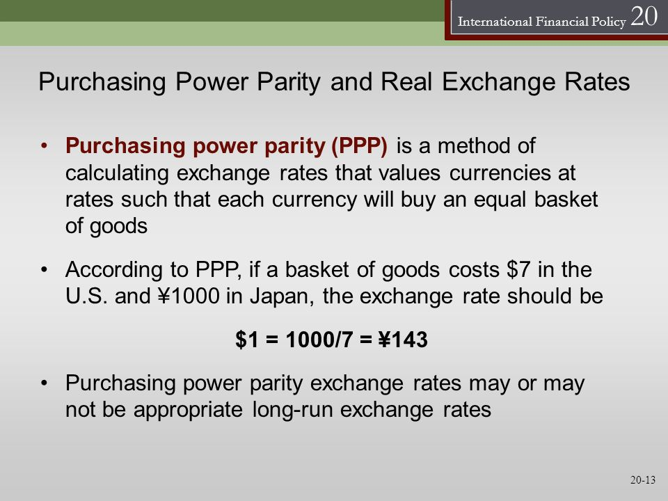 International Financial Policy 20 Purchasing Power Parity and Real Exchange Rates Purchasing power parity (PPP) is a method of calculating exchange ra