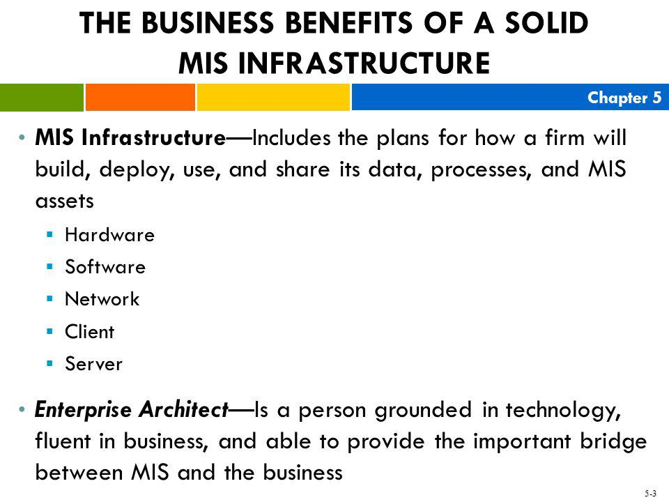 Chapter 5 5-3 THE BUSINESS BENEFITS OF A SOLID MIS INFRASTRUCTURE MIS InfrastructureIncludes the plans for how a firm will build, deploy, use, and sha