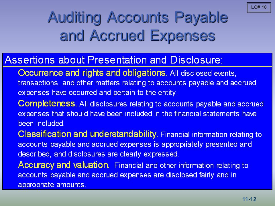 Auditing Accounts Payable and Accrued Expenses LO# 10 11-12