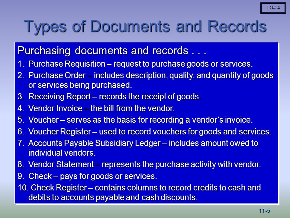 Types of Documents and Records Purchasing documents and records... 1.Purchase Requisition – request to purchase goods or services. 2.Purchase Order –