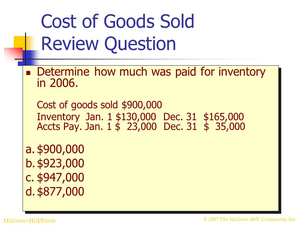 © 2007 The McGraw-Hill Companies, Inc. McGraw-Hill/Irwin Slide 22-21 Cost of Goods Sold Review Question Determine how much was paid for inventory in 2