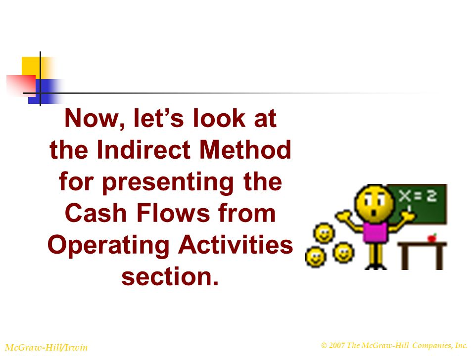 © 2007 The McGraw-Hill Companies, Inc. McGraw-Hill/Irwin Slide 22-31 Now, lets look at the Indirect Method for presenting the Cash Flows from Operatin