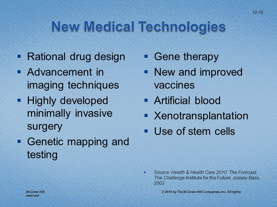 Rational drug design Advancement in imaging techniques Highly developed minimally invasive surgery Genetic mapping and testing Gene therapy New and improved vaccines Artificial blood Xenotransplantation Use of stem cells Source: Health & Health Care 2010: The Forecast, The Challenge Institute for the Future Jossey-Bass, 2003 12-10 McGraw-Hill © 2010 by The McGraw-Hill Companies, Inc.