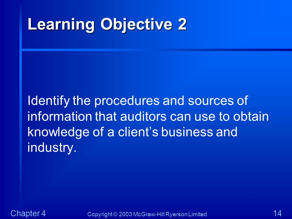 Copyright © 2003 McGraw-Hill Ryerson Limited Chapter 4 14 Learning Objective 2 Identify the procedures and sources of information that auditors can us