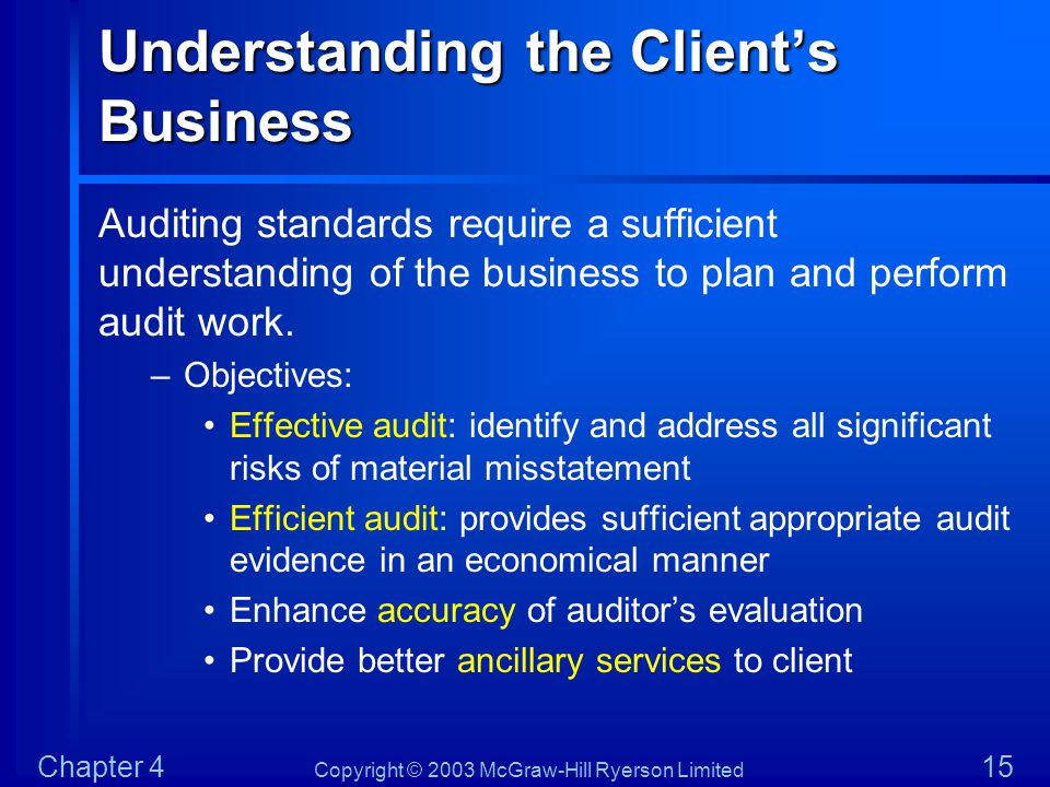Copyright © 2003 McGraw-Hill Ryerson Limited Chapter 4 15 Understanding the Clients Business Auditing standards require a sufficient understanding of
