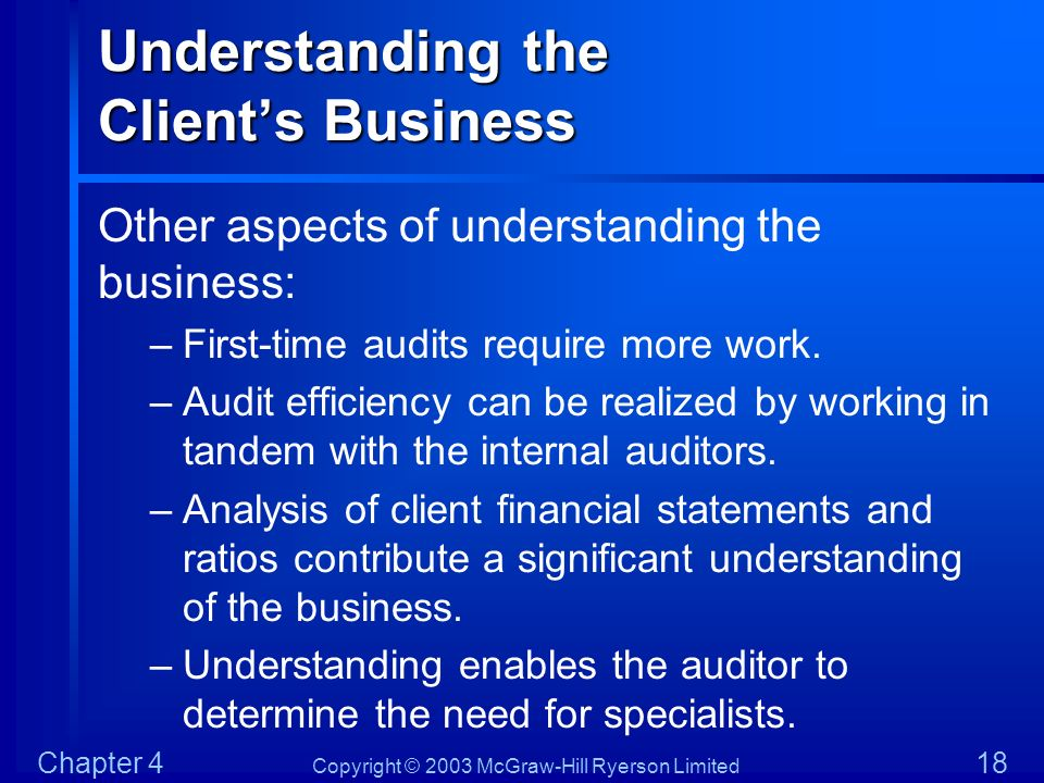 Copyright © 2003 McGraw-Hill Ryerson Limited Chapter 4 18 Understanding the Clients Business Other aspects of understanding the business: –First-time