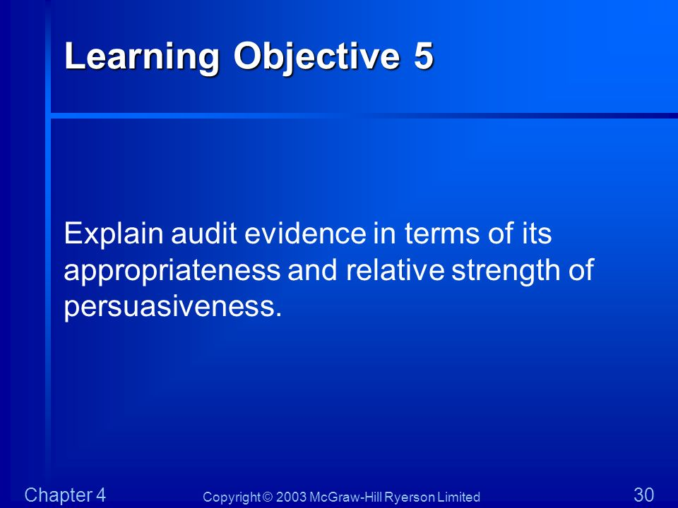Copyright © 2003 McGraw-Hill Ryerson Limited Chapter 4 30 Learning Objective 5 Explain audit evidence in terms of its appropriateness and relative str