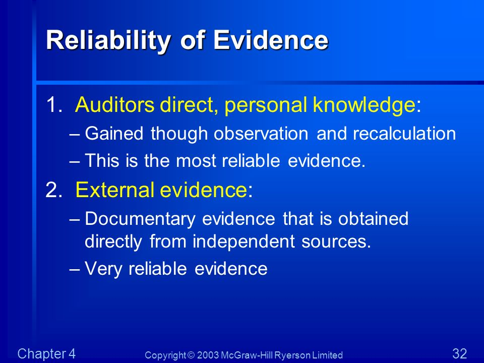 Copyright © 2003 McGraw-Hill Ryerson Limited Chapter 4 32 Reliability of Evidence 1. Auditors direct, personal knowledge: –Gained though observation a