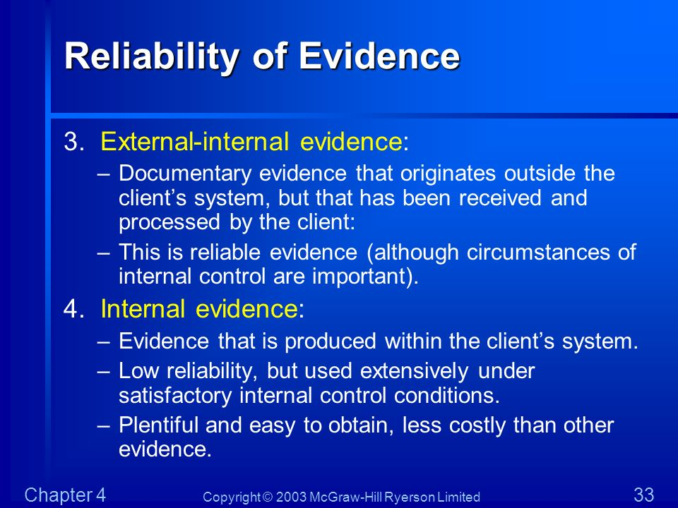 Copyright © 2003 McGraw-Hill Ryerson Limited Chapter 4 33 Reliability of Evidence 3. External-internal evidence: –Documentary evidence that originates