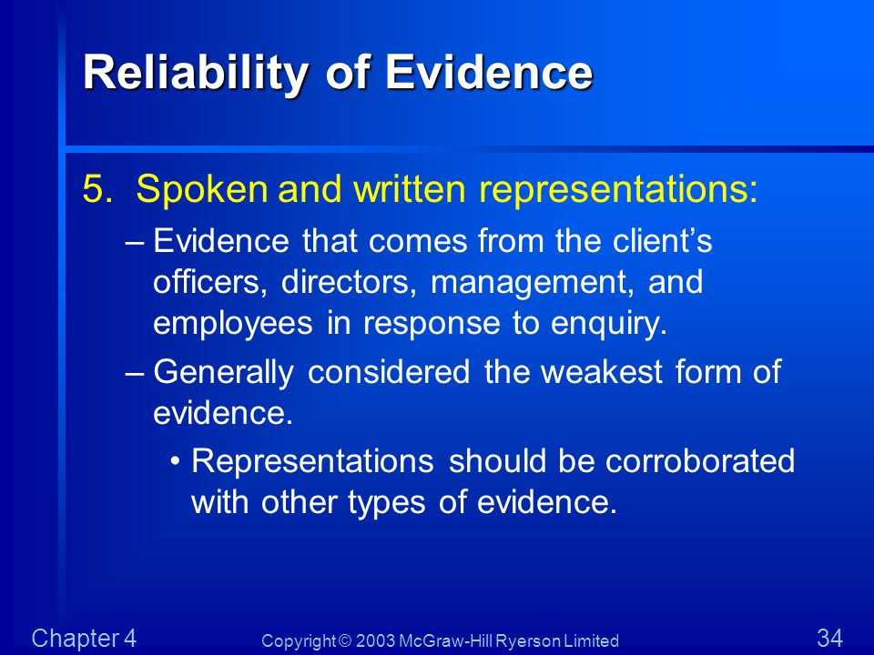 Copyright © 2003 McGraw-Hill Ryerson Limited Chapter 4 34 Reliability of Evidence 5. Spoken and written representations: –Evidence that comes from the