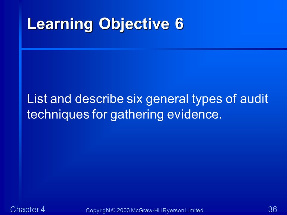 Copyright © 2003 McGraw-Hill Ryerson Limited Chapter 4 36 Learning Objective 6 List and describe six general types of audit techniques for gathering e