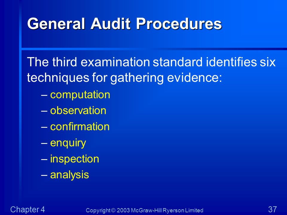 Copyright © 2003 McGraw-Hill Ryerson Limited Chapter 4 37 General Audit Procedures The third examination standard identifies six techniques for gather
