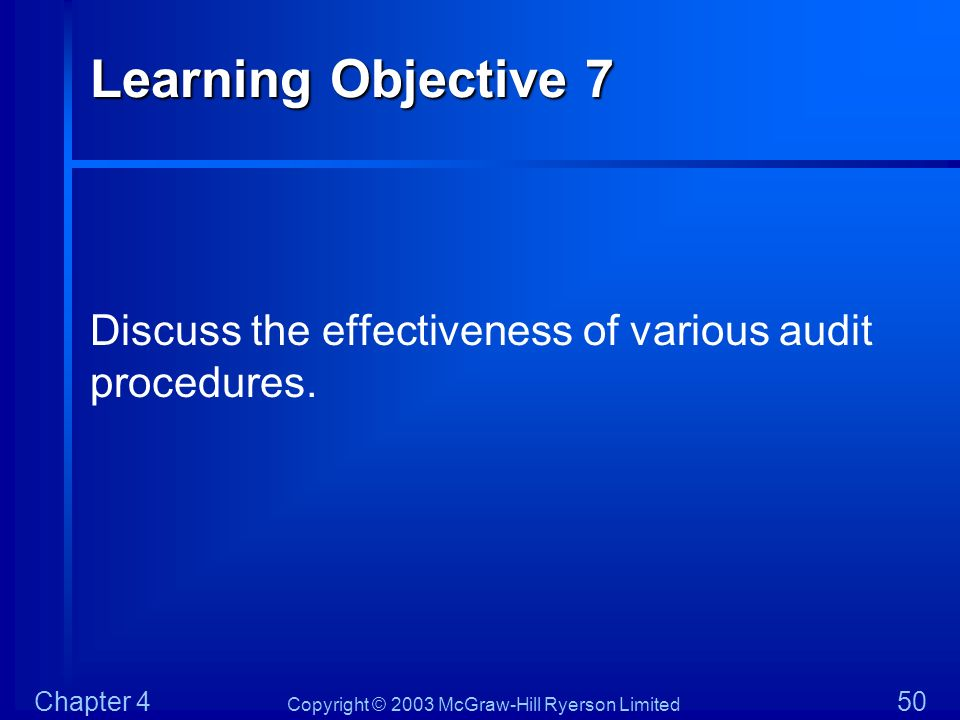 Copyright © 2003 McGraw-Hill Ryerson Limited Chapter 4 50 Learning Objective 7 Discuss the effectiveness of various audit procedures.