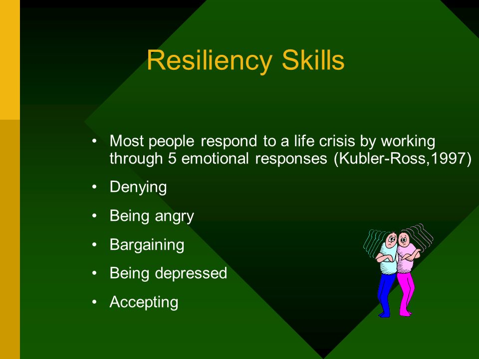 Resiliency Skills Most people respond to a life crisis by working through 5 emotional responses (Kubler-Ross,1997) Denying Being angry Bargaining Bein