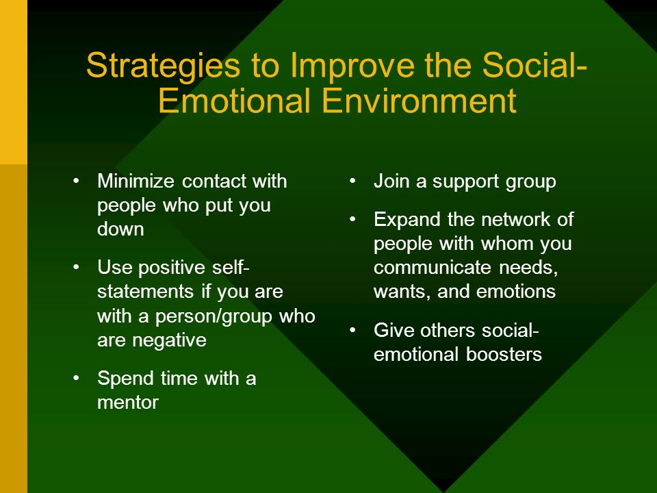 Strategies to Improve the Social- Emotional Environment Minimize contact with people who put you down Use positive self- statements if you are with a